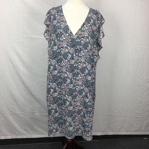 Loft Slate Blue Floral Print Ruffle Detail Dress